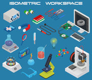 Isometric science concept electronics and chemistry equipment Royalty Free Stock Photos