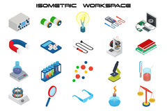 Isometric science icons with 3D design, electronics and chemistry equipment. Vector icon set Royalty Free Stock Photos