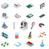 Isometric science icons with 3D design, electronics and chemistry equipment. Vector illustration Royalty Free Stock Image