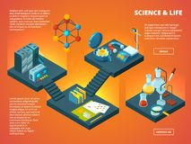 Isometric science lab. Biology pharmaceutical or chemical laboratory interior vector 3d concept pictures stock illustration