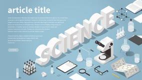 Isometric Science Landing Page Illustration stock illustration