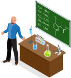 Isometric Scientist has performed a successful experiment in chemistry. Chemistry lesson making experiments. Laboratory. Test tubes and flasks with colored Stock Image