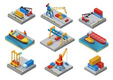 Isometric Sea Port Elements Set. With ships boats cranes loaders shipment truck platform containers isolated vector illustration Royalty Free Stock Images
