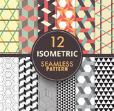 12 isometric seamless pattern collection.isometric seamless patt. Ern background repeatable. vector stock Royalty Free Stock Image