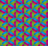 Isometric seamless pattern. 3D optical illusion background. Multicolor Isometric Seamless Pattern. 3D Optical Illusion Background Texture. Editable Vector EPS10 Royalty Free Stock Photos