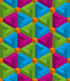 Isometric seamless pattern. 3D optical illusion background. Multicolor Isometric Seamless Pattern. 3D Optical Illusion Background Texture. Editable Vector EPS10 Royalty Free Stock Photo