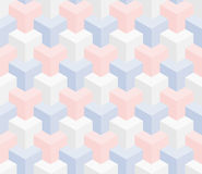 Isometric seamless pattern. 3D optical illusion background. Isometric Seamless Pattern in pastel shades. 3D Optical Illusion Background Texture. Editable Vector Stock Photography