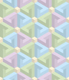 Isometric seamless pattern. 3D optical illusion background. Isometric Seamless Pattern in pastel shades. 3D Optical Illusion Background Texture. Editable Vector Royalty Free Stock Image