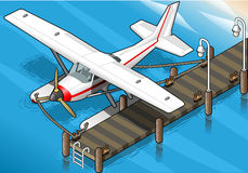Isometric Seaplane Moored at the Pier in Front View Royalty Free Stock Image