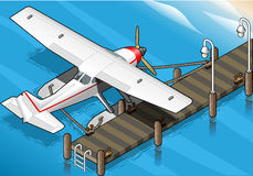 Isometric Seaplane Moored at the Pier in Rear View Stock Photo