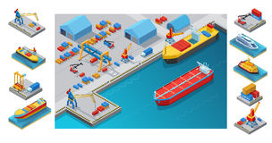 Isometric Seaport Concept. With ships tanker barge vessel cruise liner cranes loaders warehouses containers  vector illustration Royalty Free Stock Images