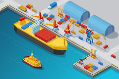 Isometric Seaport And Dock Template. With shipment vessel boat cranes storages trucks and containers vector illustration Royalty Free Stock Image