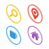 Isometric search icon. Isometric map pointer icon. Isometric cup icon. Isometric home icon. Royalty Free Stock Photos