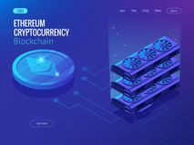 Isometric Secure Global Financial Network Blockchain Crypto Currencies Ethereum. Ethereum Network. Vector Illustration Stock Photo