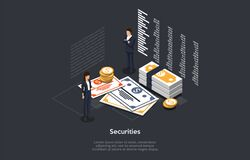 Free Isometric Securities Concept. Business People Man And Woman Forming An Securities Investment Portfolio. Vector Stock Photography - 170966362