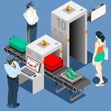 Isometric Security Checkpoint Machine Stock Image