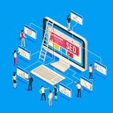 Isometric seo agencja Kreatywnie ludzie rozpoczęć rozwijają drużyny tworzy wpólnie na komputerze 3d seo wektoru ilustracja royalty ilustracja