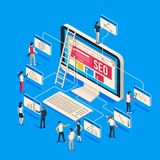 Isometric seo agency. Creative people startup develop team creating together on computer. 3d seo vector illustration royalty free illustration