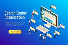 Isometric seo optimization. Website team computer optimizing. 3d seo web site optimize vector illustration. Isometric seo optimization. Website team computer vector illustration