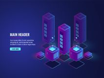 Isometric server room, web hosting services conceptual banner, data encryption and protection center. Bigdata processing vector dark ultra violet neon Stock Photos