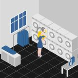 Isometric service coin laundry interior with equipment washing and ironing machines. Cleaning service company. Housework. And household vector illustration
