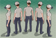 Isometric Service Woman in Five Positions Stock Images