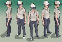 Isometric Service Woman in Five Positions Royalty Free Stock Image