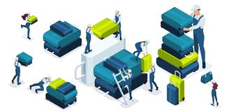 Isometric set of airport employees who fold Luggage, load bags and suitcases, help each other.  royalty free illustration