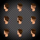 Isometric set avatars, mężczyzna ` s fryzury, modnisia styl Kłaść, broda, wąsy Nowożytna, elegancka fryzura, tylni widok na trani Obraz Royalty Free