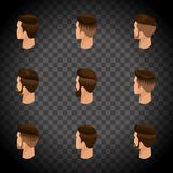 Isometric set of avatars, men`s hairstyles, hipster style. Laying, beard, mustache. Modern, stylish hairstyle, rear view on a tran Royalty Free Stock Image