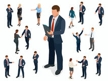 Isometric set of Businessman and businesswoman character design. People isometric business man in different poses. Isolated Royalty Free Stock Images