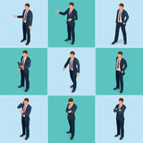 Isometric set of Businessman and businesswoman character design. People isometric business man in different poses. Isolated. Working in office Stock Image