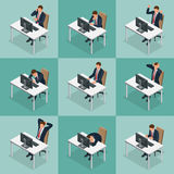 Isometric set of Businessman and businesswoman character design. People isometric business man in different poses. Isolated. Working in office Stock Photos