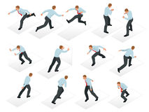 Isometric set of Businessman character design. 3D People isometric business man in different poses . Working in Stock Image
