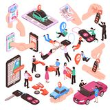 Car Sharing Set. Isometric set of car sharing service elements and people using vehicles together isolated on white background 3d vector illustration royalty free illustration