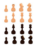 Isometric set of chess pieces. Flat design. 3d illustration vector illustration