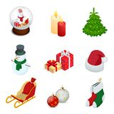 Isometric set of Christmas new year holiday decoration icons set isolated vector illustration New Year s ball, candles Stock Image