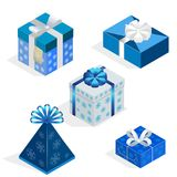 Isometric Set of colorful gift boxes with bows and ribbons. Surprise inside. Vector illustration. Isometric Set of colorful gift boxes with bows and ribbons stock illustration