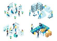 Isometric Set concept warehouse, holding company, business training, industrial enterprise. Modern vector illustration concepts stock illustration