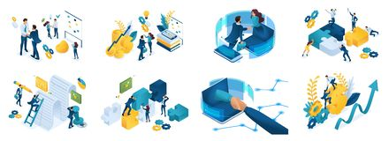 Isometric set of concepts on the topic of online cooperation, agreement, financing of projects, online consultation, partnership. Joint project stock illustration