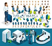 Isometric create your character, business lady at the airport vector illustration