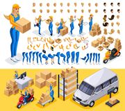 Isometric set Create your character, courier. Man from the delivery service. Set of gestures of hands, feet, emotions of the character, a set of different stock illustration