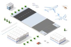 Isometric 3D airstrip Royalty Free Stock Photos