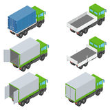 Isometric set of different trucks Stock Photos