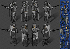 Isometric set of eight policemans standing Stock Images
