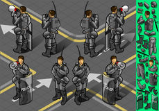 Isometric set of eight policemans standing Stock Image