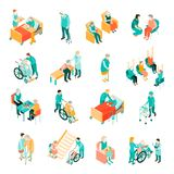 Elderly People Nursing Home Isometric Set. Isometric set of elderly people in different situations and medical staff in nursing home isolated vector illustration royalty free illustration