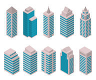 Isometric set of European high-rise buildings on a white background. Royalty Free Stock Photos