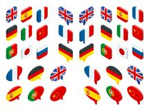 Isometric set flags of the world. Vector isolated flags icons.  vector illustration