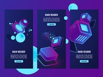 Isometric set of futuristic banners, digital data concept, vector server room web hosting, data processing. Illustrations, abstract hitech technology objects Royalty Free Stock Photos